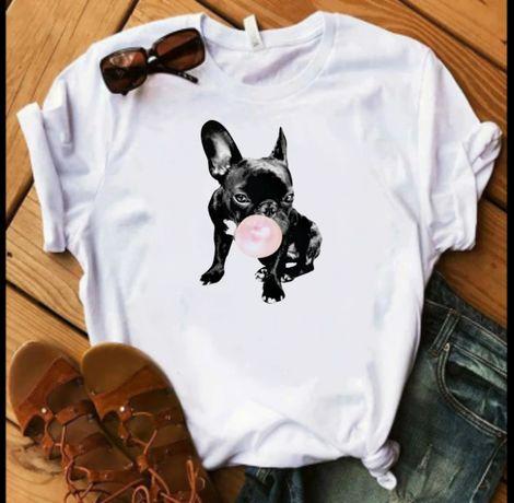Koszulka bluzka t-shirt buldożek francuski buldog guma balonowa S-XXL