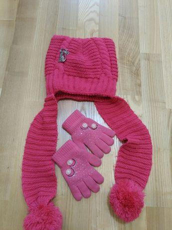 Шапка (флис) зима для девочки на 6-8 лет + перчатки в подарок