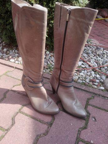 Buty kozaki skórzane damskie - rozmiar 39.
