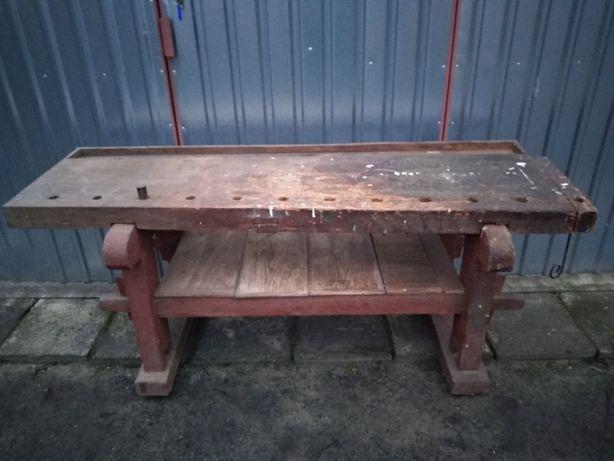 Zabytkowy stół warsztatowy stolarski strugnica drewniany