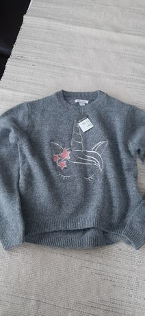 Sweter Primark 10 11 lat 146 cm szary Nowy unicorn nr45