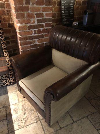 Fotel skórzany kolonialny