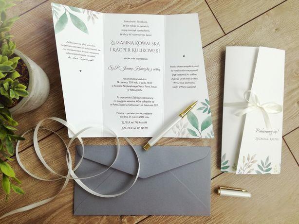 Zaproszenia ślubne - motyw z liśćmi