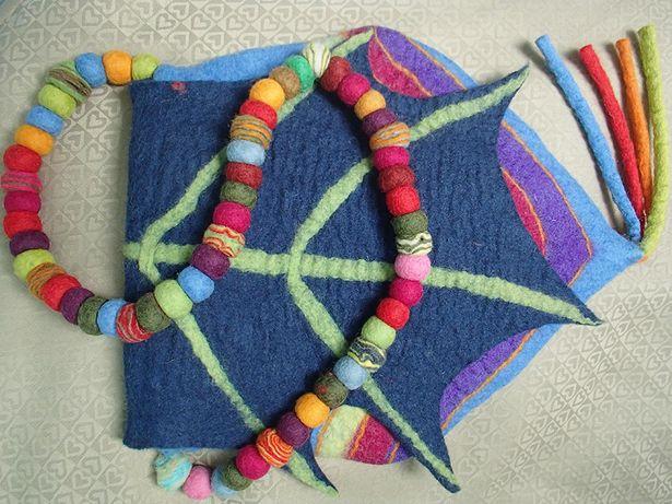 piękna oryginalna torba filcowana handmade Nepal 100% wełna
