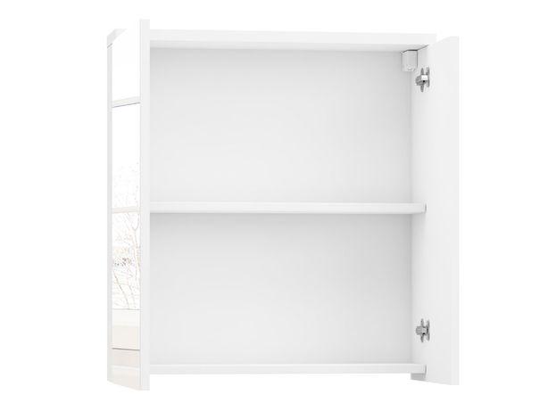 Wisząca biała szafka łazienkowa z dwiema półkami + LUSTRO 60 cm