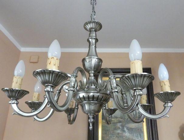 Żyrandol mosiądz SREBRNY LAMPA 8 żar FRANCJA 9,5 kg