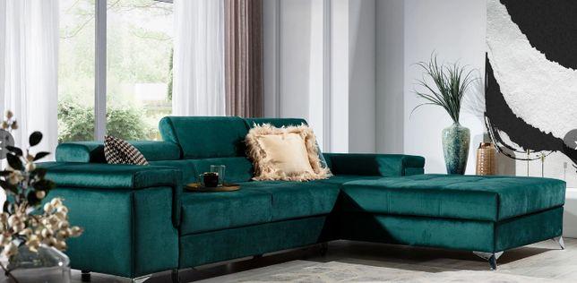 kanapa sofa duża ZIELONA butelkowa welur narożnik na GWARANCJI