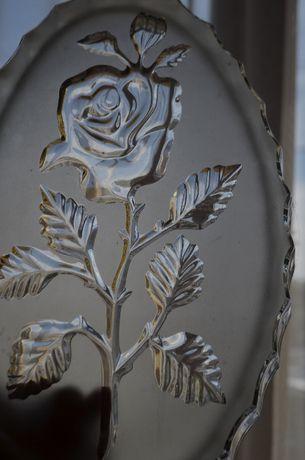 patera taca szkło prasowane dymione róża