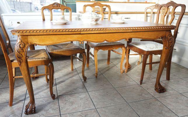 stół w stylu chippendale stary ludwik rozsuwany drewniany antyki