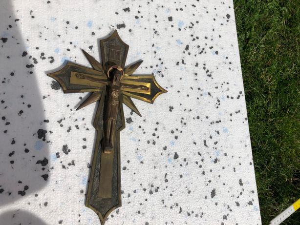 krzyż wiszący mosiężny , a3 , 36 cm