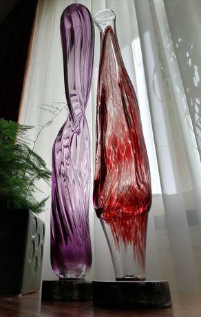 Szkło artystyczne PRL szklana forma rzeźba
