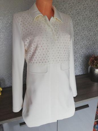 Piękny biały płaszczyk Pierre Cardin r. M 38 AŻUROWE KWIATY