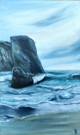 """Картина маслом """"Stormy beach"""" Картины в интерьер от автора"""