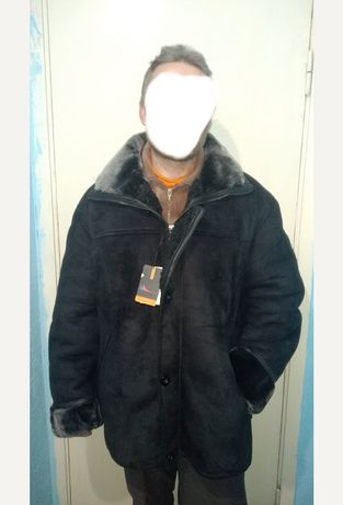 Очень теплая натуральная куртка дубленка мужская на крупного человека
