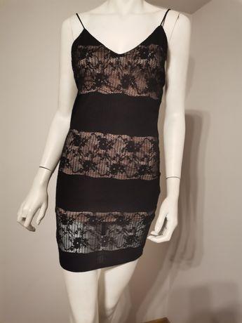 Sukienka z koronką czarna, na ramiączkach, SYLWESTER XS