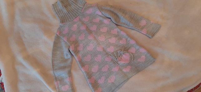 Sweter tunika golf ciepłe w serduszka 104
