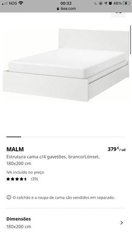 Vendo cama Malm casal .