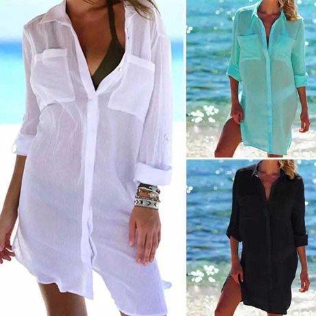 Женская туника рубашка пляжная свободная на лето легкая белая черная