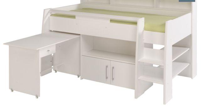 Wielofunkcyjne łóżko dziecięce piętrowe Swan z biurkiem
