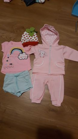 Paka zestaw ubranka dla dziewczynki 68 dres, body, spodnie, bluzki