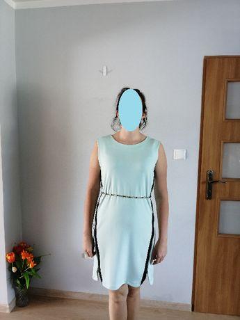Miętowa prosta sukienka r 40 42