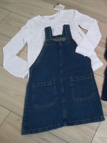 Nowy komplecik jeansowa spódniczka i biała tunikarozm. 134-140