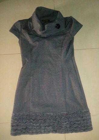 Szara sukienka z falbanami, r. S/M