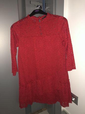 Zara czerwona koronkowa sukienka S Jak nowa!