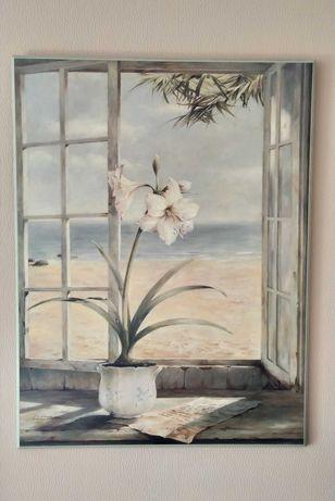 Obraz drewniany z kwiatem