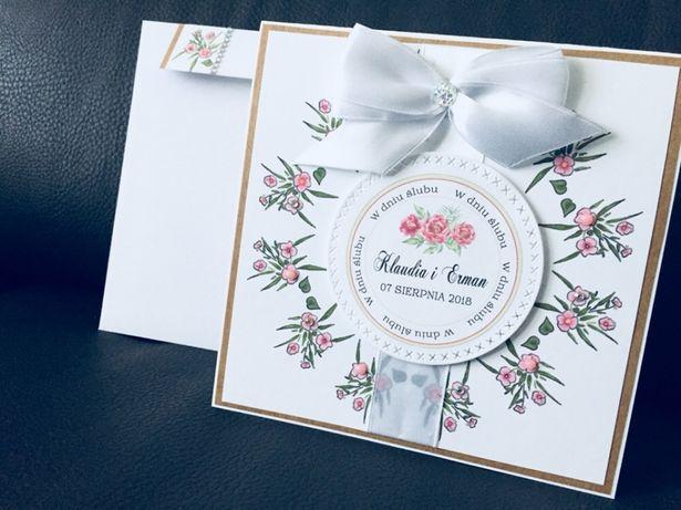 Zaproszenia ślubne kartka ślubna ślub rustykalne z wiankiem eko