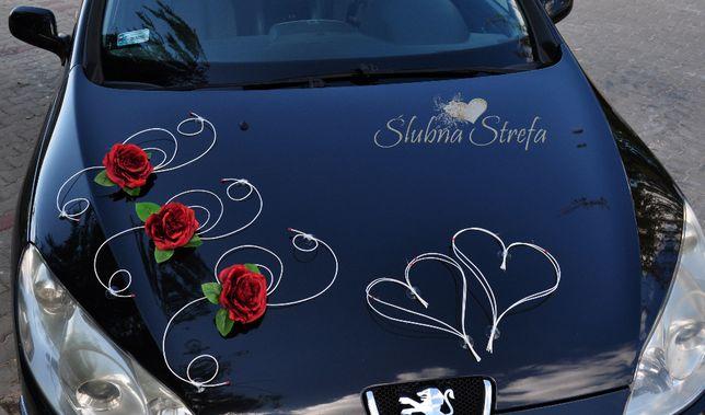 Dekoracja na samochód, ozdoby na auto ślubne, przybranie samochodu