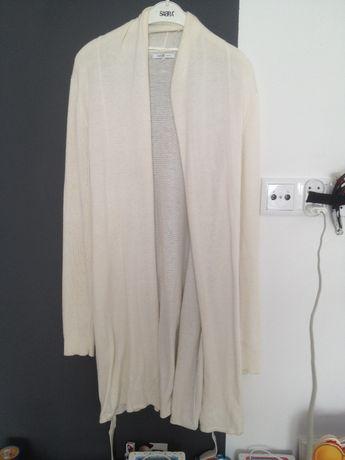 Sweter r 40 (12) Narzuta Długi z paskiem Marka Oodji Biały Jesień Zima