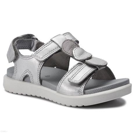 ECCO FLORA sandały silver skórzane, lekkie, stan idealny rozm. 29