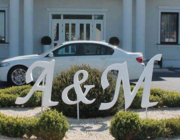 Dekoracja ślubna - duże, drewniane inicjały