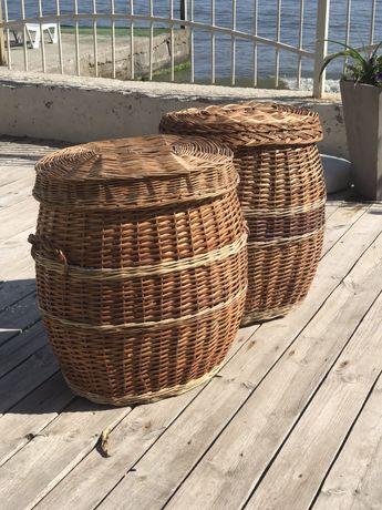 Большие плетёные корзины высотой 60 см. Натуральная лоза