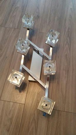 Żyrandol 6 żarówek led na pilota do salonu chromowany krysztal
