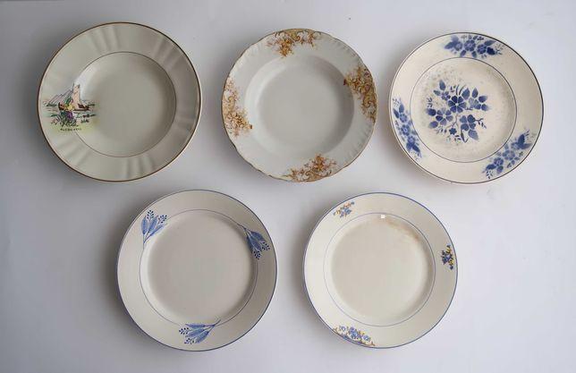 Lote com 5 pratos em faiança antiga Portuguesa (ref. 3)