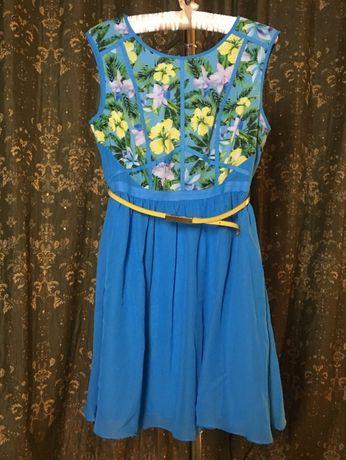 Платье английского бренда Oasis, оригинал Летнее яркое платье с поясом