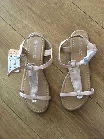 Sandałki złote 38