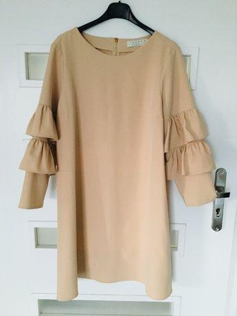 Sukienka beżowa nude L XL OVERSIZE