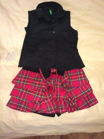 Школьная форма (юбка-шорты+жилет Benetton) р. 140 -500 р.