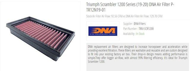 Triumph Scrambler 1200 - Filtro ar alto rendimento