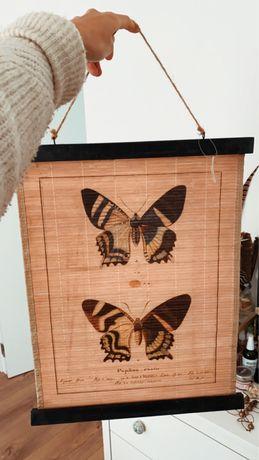 Decoração painel parede Bamboo borboleta planta