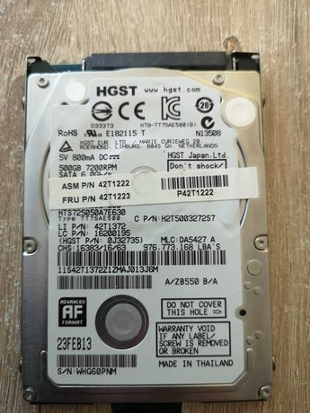 Dysk do laptopa PC 2,5' 500GB 7200obr 7mm Hitachi HGST 32MB SATA 6GB/s