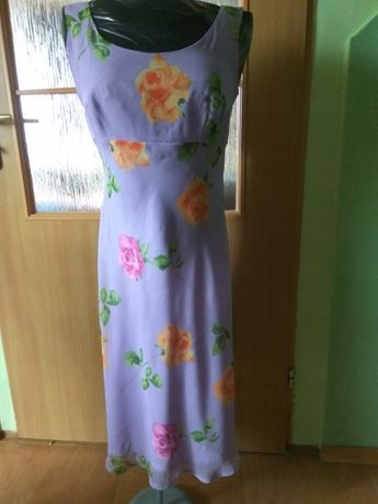 Sukienka na wesele fioletowa wiosna/lato 38 piękna kwiaty