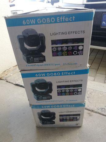Ruchome glowy mini led 60W glowa moving head swiatlo dj okazja