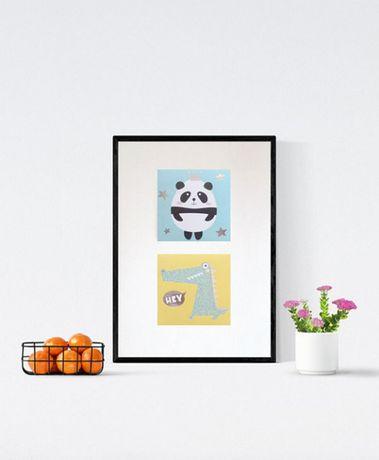 panda plakat dla dzieci, pastelowy plakat, krokodyl plakat zwierzeta