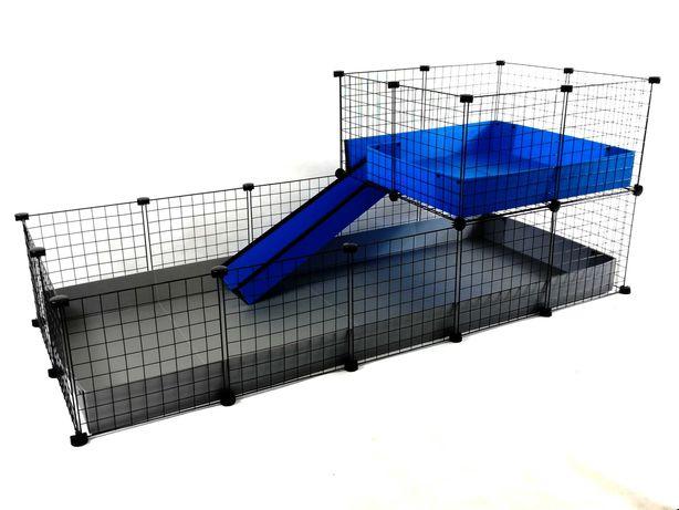 Piętrowa klatka modułowa C&C 180x75 cm dla świnki morskiej królika