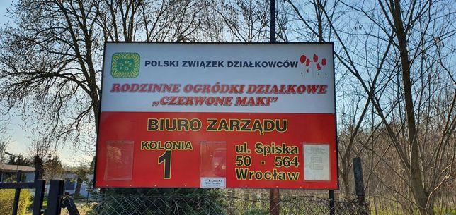 """Działka w kolonii nr 1 ROD """"Czerwone maki"""" Wrocław Wojszyce ul.Orawska"""