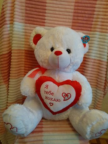 Новый с биркой белый мишка медведь плюшевый